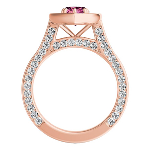 PENELOPE  Halo  Pink  Sapphire  Engagement  Ring  In  14K  Rose  Gold  With  0.50  Carat  Marquise  Stone
