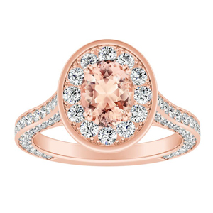 PENELOPE Halo Morganite Engagement Ring In 14K Rose Gold With 2.00 Carat Oval Stone