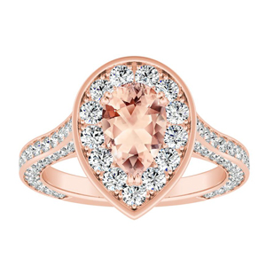 PENELOPE Halo Morganite Engagement Ring In 14K Rose Gold With 1.00 Carat Pear Stone