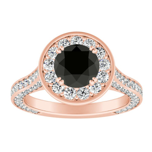 PENELOPE Halo Black Diamond Engagement Ring In 14K Rose Gold With 1.00 Carat Round Diamond