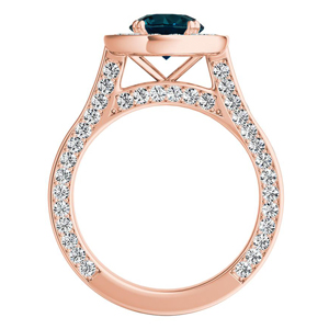 PENELOPE  Halo  Blue  Diamond  Engagement  Ring  In  14K  Rose  Gold  With  0.50  Carat  Round  Diamond