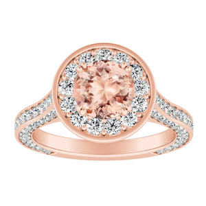 PENELOPE Halo Morganite Engagement Ring In 14K Rose Gold With 4.00 Carat Round Stone