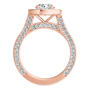 PENELOPE  Halo  Moissanite  Engagement  Ring  In  14K  Rose  Gold  With  0.50  Carat  Round  Stone