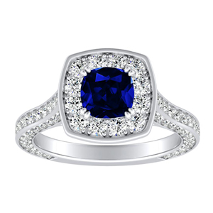 PENELOPE Halo Blue Sapphire Engagement Ring In 14K White Gold With 0.30 Carat Cushion Stone