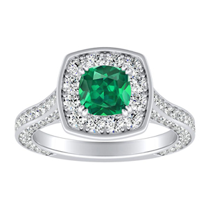 PENELOPE Halo Green Emerald Engagement Ring In 14K White Gold With 0.50 Carat Cushion Stone