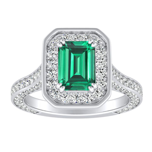 PENELOPE  Halo  Green  Emerald  Engagement  Ring  In  14K  White  Gold  With  0.50  Carat  Emerald  Stone
