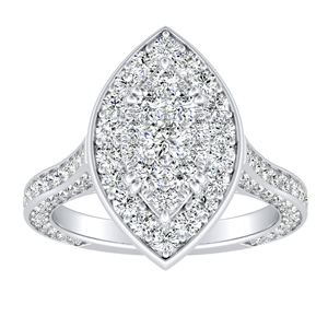 PENELOPE Halo Engagement Ring In 14K White Gold With Marquise Diamond In H-I SI1-SI2 Quality