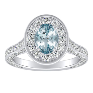 PENELOPE Halo Aquamarine Engagement Ring In 14K White Gold With 1.00 Carat Oval Stone