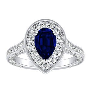 PENELOPE  Halo  Blue  Sapphire  Engagement  Ring  In  14K  White  Gold  With  0.50  Carat  Pear  Stone