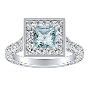PENELOPE  Halo  Aquamarine  Engagement  Ring  In  14K  White  Gold  With  1.00  Carat  Princess  Stone