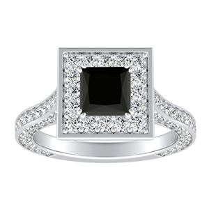 PENELOPE  Halo  Black  Diamond  Engagement  Ring  In  14K  White  Gold  With  1.00  Carat  Princess  Diamond
