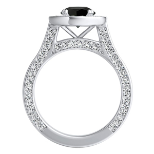 PENELOPE  Halo  Black  Diamond  Engagement  Ring  In  14K  White  Gold  With  1.00  Carat  Round  Diamond