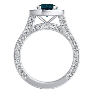 PENELOPE  Halo  Blue  Diamond  Engagement  Ring  In  14K  White  Gold  With  0.50  Carat  Round  Diamond