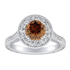 PENELOPE Halo Brown Diamond Engagement Ring In 14K White Gold With 0.30 Carat Round Diamond
