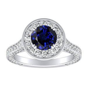 PENELOPE  Halo  Blue  Sapphire  Engagement  Ring  In  14K  White  Gold  With  0.50  Carat  Round  Stone