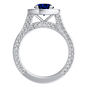 PENELOPE  Halo  Blue  Sapphire  Wedding  Ring  Set  In  14K  White  Gold  With  0.50  Carat  Round  Stone
