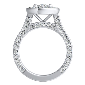 PENELOPE Halo Engagement Ring In 14K White Gold With Round Diamond In {quality) Quality