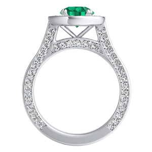 PENELOPE  Halo  Green  Emerald  Engagement  Ring  In  14K  White  Gold  With  0.50  Carat  Round  Stone