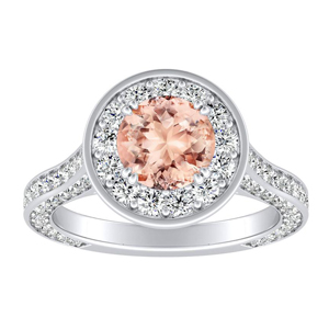 PENELOPE Halo Morganite Engagement Ring In 14K White Gold With 1.00 Carat Round Stone