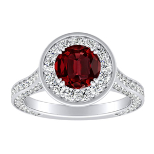 PENELOPE Halo Ruby Engagement Ring In 14K White Gold With 0.30 Carat Round Stone