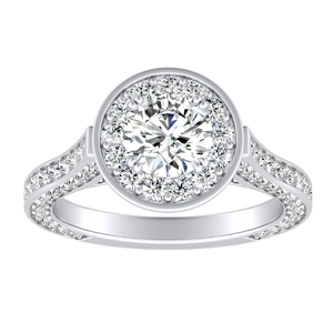 PENELOPE Halo Moissanite Engagement Ring In 14K White Gold With 0.50 Carat Round Stone