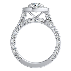 PENELOPE  Halo  Moissanite  Wedding  Ring  Set  In  14K  White  Gold  With  0.50  Carat  Round  Stone