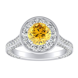 PENELOPE  Halo  Yellow  Diamond  Engagement  Ring  In  14K  White  Gold  With  0.50  Carat  Round  Diamond