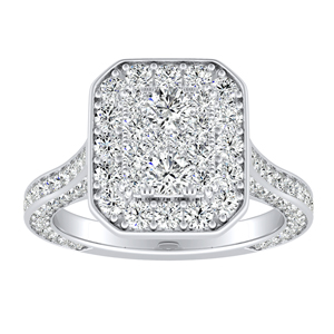 PENELOPE Halo Engagement Ring In 14K White Gold With Radiant Diamond In H-I SI1-SI2 Quality