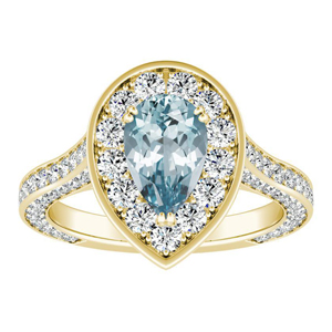PENELOPE Halo Aquamarine Engagement Ring In 14K Yellow Gold With 1.00 Carat Pear Stone