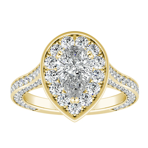 PENELOPE Halo Engagement Ring In 14K Yellow Gold
