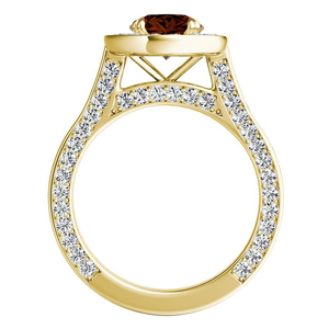PENELOPE  Halo  Brown  Diamond  Engagement  Ring  In  14K  Yellow  Gold  With  0.50  Carat  Round  Diamond