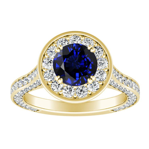 PENELOPE Halo Blue Sapphire Engagement Ring In 14K Yellow Gold With 0.50 Carat Round Stone
