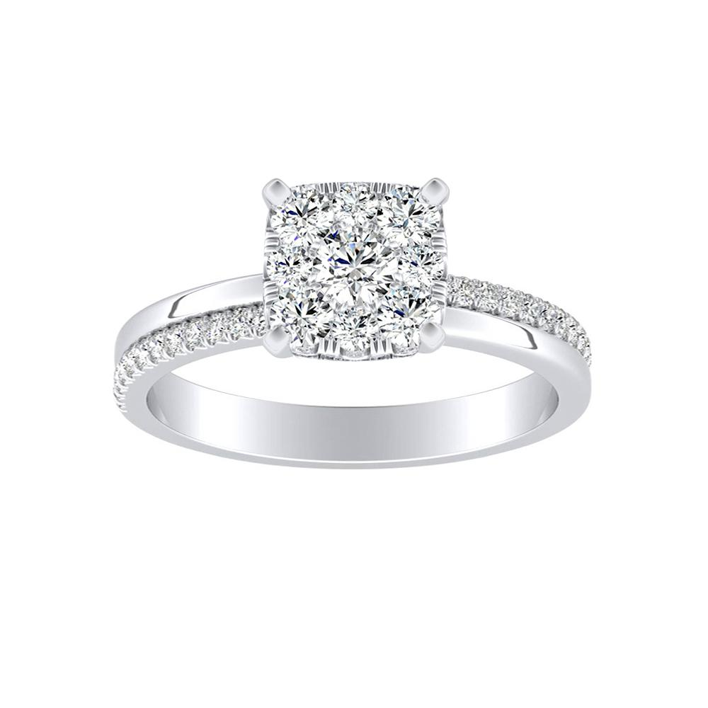 ALISON Classic Diamond Engagement Ring In 14K White Gold With Cushion Diamond In H-I SI1-SI2 Quality