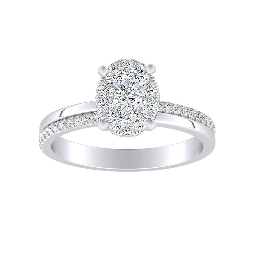 ALISON Classic Diamond Engagement Ring In 14K White Gold With Oval Diamond In H-I SI1-SI2 Quality