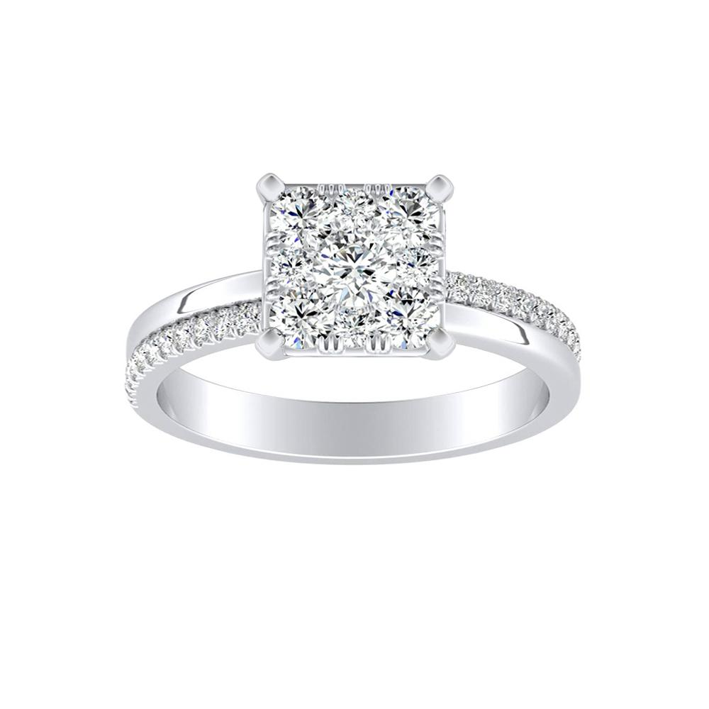 ALISON Classic Diamond Engagement Ring In 14K White Gold With Princess Diamond In H-I SI1-SI2 Quality
