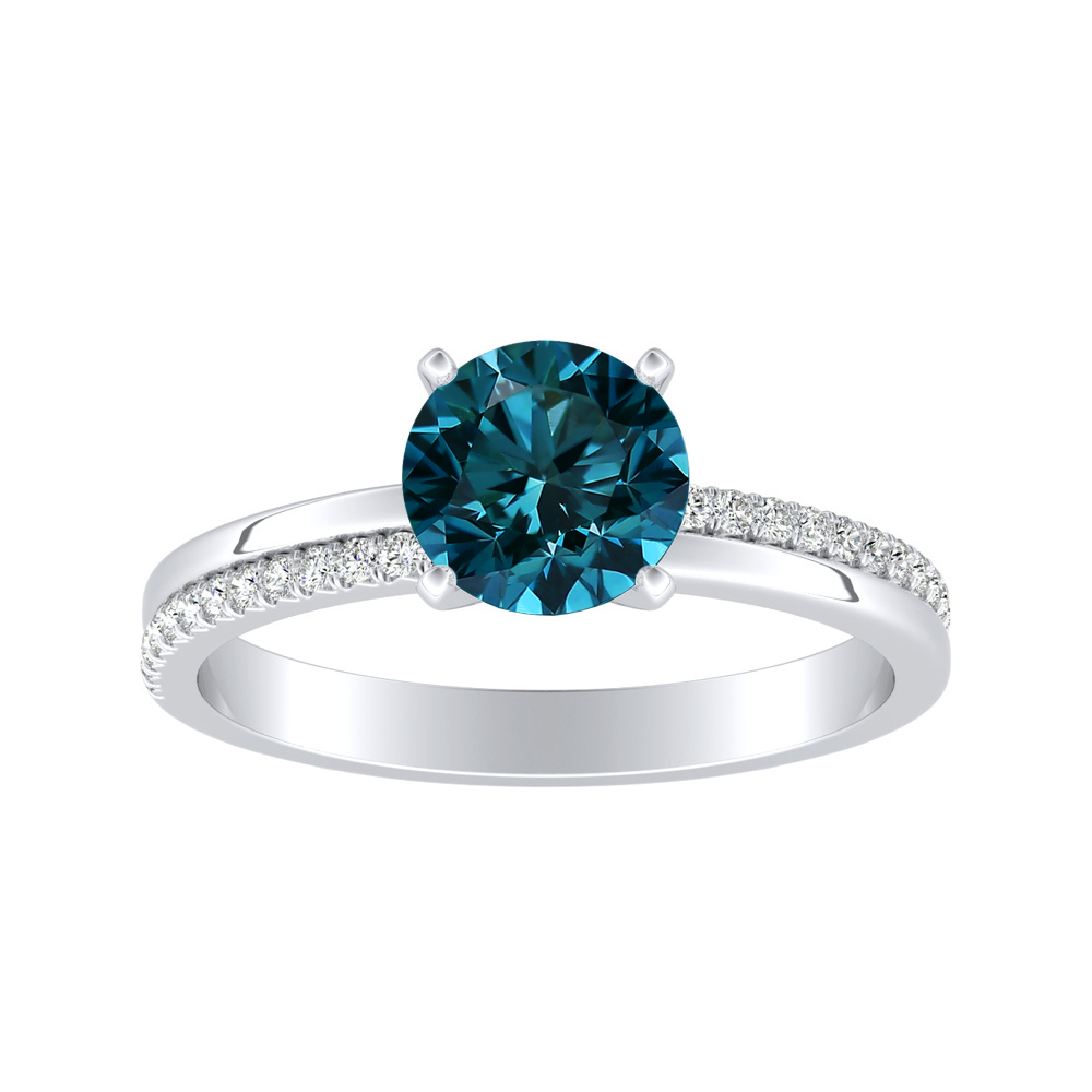 ALISON Classic Blue Diamond Engagement Ring In 14K White Gold With 0.50 Carat Round Diamond