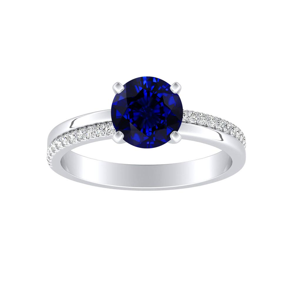 ALISON Classic Blue Sapphire Engagement Ring In 14K White Gold With 0.30 Carat Round Stone