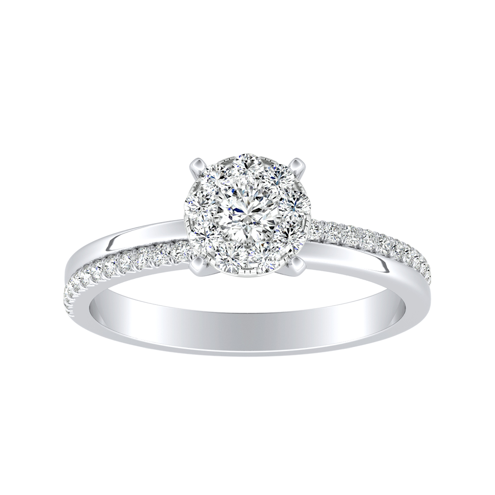 ALISON Classic Diamond Engagement Ring In 14K White Gold With Round Diamond In H-I SI1-SI2 Quality