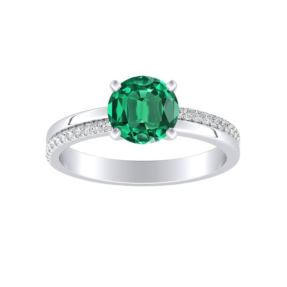 ALISON Classic Green Emerald Engagement Ring In 14K White Gold With 0.50 Carat Round Stone