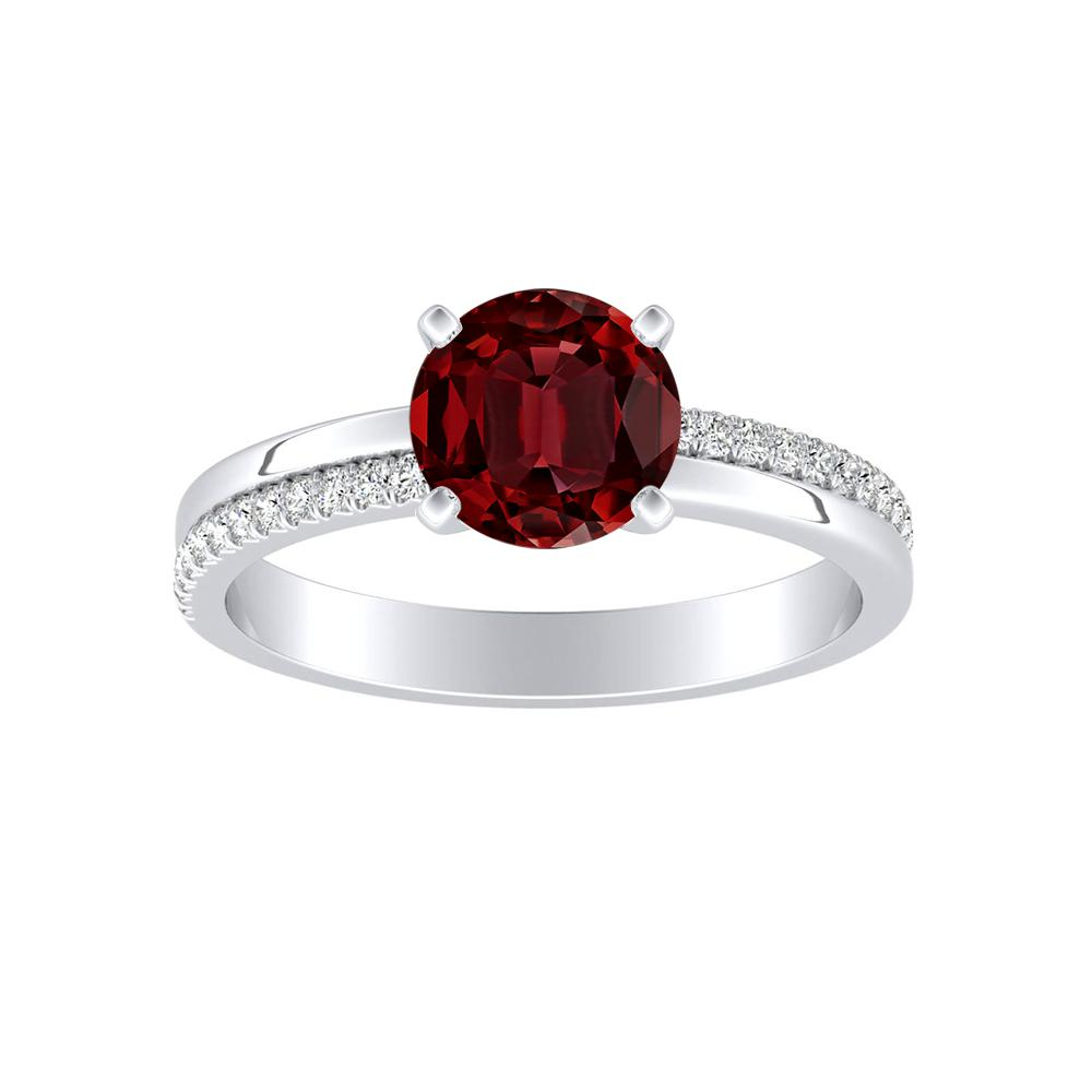 ALISON Classic Ruby Engagement Ring In 14K White Gold With 0.50 Carat Round Stone