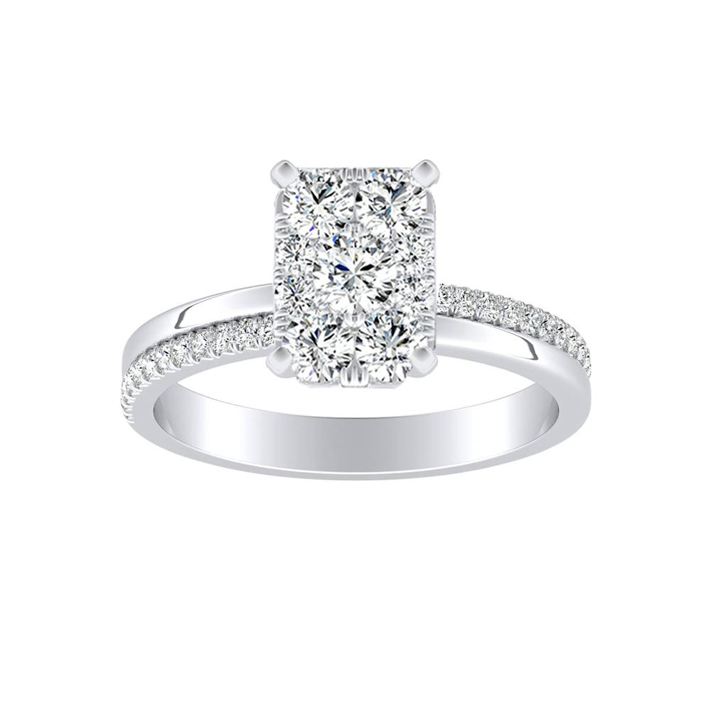 ALISON Classic Diamond Engagement Ring In 14K White Gold With Radiant Diamond In H-I SI1-SI2 Quality