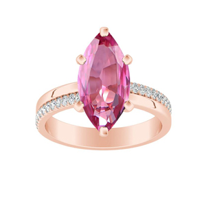 ALISON  Classic  Pink  Sapphire  Engagement  Ring  In  14K  Rose  Gold  With  0.50  Carat  Marquise  Stone