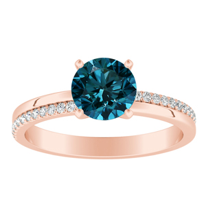ALISON  Classic  Blue  Diamond  Engagement  Ring  In  14K  Rose  Gold  With  0.50  Carat  Round  Diamond