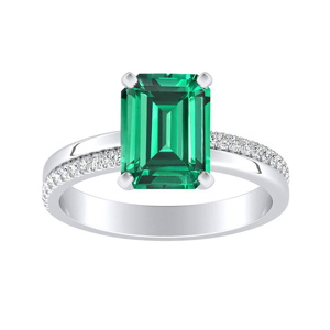 ALISON  Classic  Green  Emerald  Engagement  Ring  In  14K  White  Gold  With  0.50  Carat  Emerald  Stone
