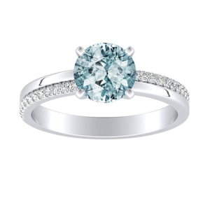 ALISON Classic Aquamarine Engagement Ring In 14K White Gold With 1.00 Carat Round Stone