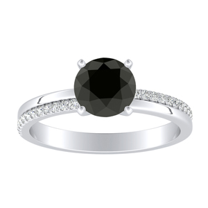 ALISON  Classic  Black  Diamond  Engagement  Ring  In  14K  White  Gold  With  1.00  Carat  Round  Diamond