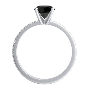ALISON  Classic  Black  Diamond  Engagement  Ring  In  14K  White  Gold  With  1.00  Carat  Princess  Diamond