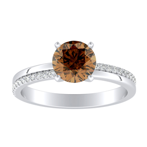 ALISON Classic Brown Diamond Engagement Ring In 14K White Gold With 0.30 Carat Round Diamond