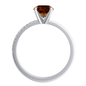 ALISON  Classic  Brown  Diamond  Engagement  Ring  In  14K  White  Gold  With  0.50  Carat  Round  Diamond