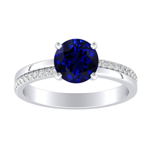 ALISON Classic Blue Sapphire Engagement Ring In 14K White Gold With 0.50 Carat Round Stone